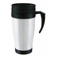 Plastic cup with lid, 400ml, white
